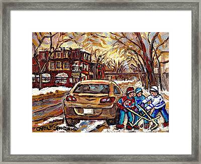 Hockey Art Original Canadian Paintings Streets Of Montreal Winter Scene In The Pointe Carole Spandau Framed Print by Carole Spandau
