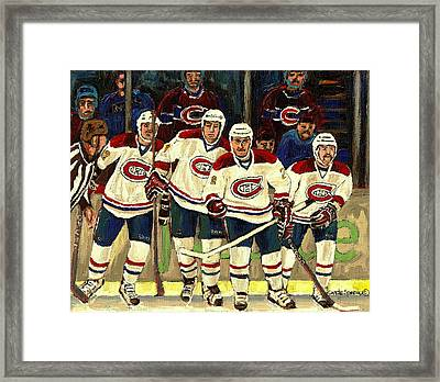 Hockey Art The Habs Fab Four Framed Print by Carole Spandau