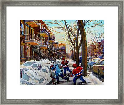 Hockey On De Bullion  Framed Print by Carole Spandau