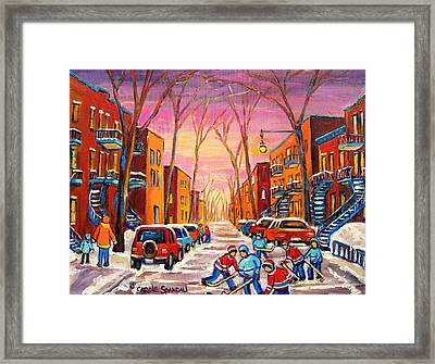 Hockey On Hotel De Ville Street Framed Print by Carole Spandau
