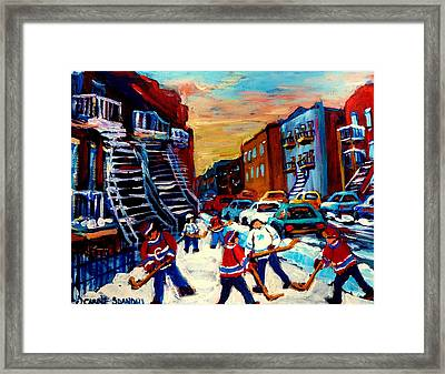 Hockey Paintings Of Montreal St Urbain Street City Scenes Framed Print by Carole Spandau