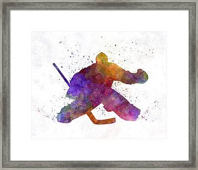 Hockey Porter In Watercolor Framed Print by Pablo Romero