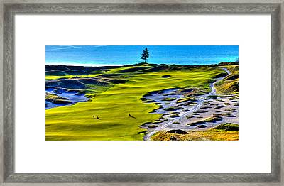 Hole #5 At Chambers Bay Golf Course Framed Print by David Patterson