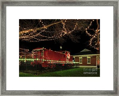 Holiday Caboose Framed Print by Dennis Hedberg