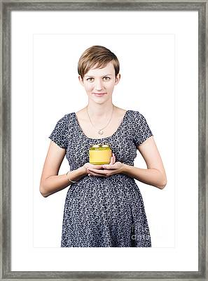 Holistic Naturopath Holding Jar Of Homemade Spread Framed Print by Jorgo Photography - Wall Art Gallery