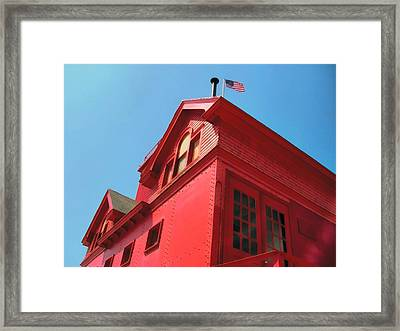 Holland Harbor Light From The Bottom Up Framed Print by Michelle Calkins