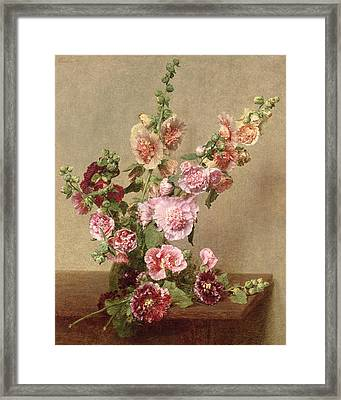 Hollyhocks Framed Print by Ignace Henri Jean Fantin Latour
