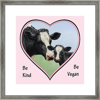 Holstein Cow And Calf Pink Heart Vegan Framed Print by Crista Forest