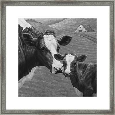 Holstein Cow Farm Black And White Framed Print by Crista Forest