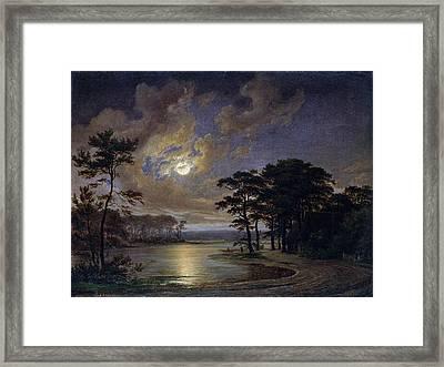 Holstein Sea Moonlight Framed Print by Johann Georg Haeselich