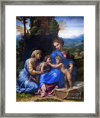 Holy Family With John The Baptist As A Boy And Saint Elizabeth,  Framed Print by Peter Barritt