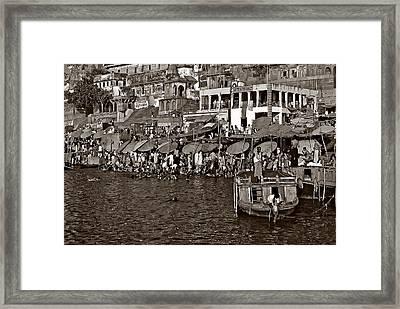 Holy Ganges Monochrome Framed Print by Steve Harrington