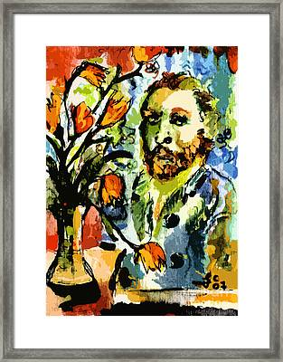 Homage To Vangogh Tulips And Portrait Framed Print by Ginette Callaway