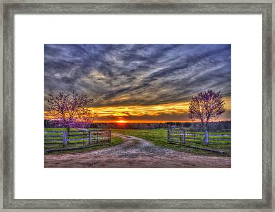 Home Sweet Home Lick Skillet Road Sunset Framed Print by Reid Callaway