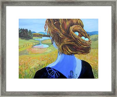 Home With Nest In Hair Framed Print by Tilly Strauss