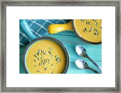 Homemade Fresh Pumpkin Soup Framed Print by Teri Virbickis