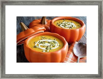 Homemade Fresh Pumpkin Squash Soup Framed Print by Teri Virbickis
