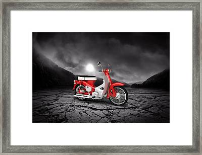 Honda C50 Cub 1967  Mountains Framed Print by Aged Pixel