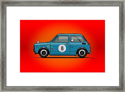 Honda N600 Blue Kei Race Car Framed Print by Monkey Crisis On Mars