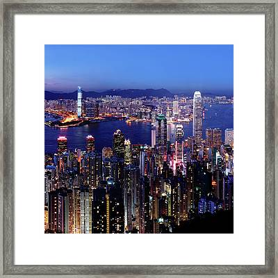 Hong Kong Victoria Harbor At Night Framed Print by Sam