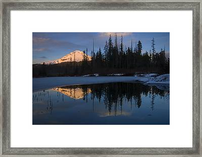 Hood Alpenglow Framed Print by Mike  Dawson