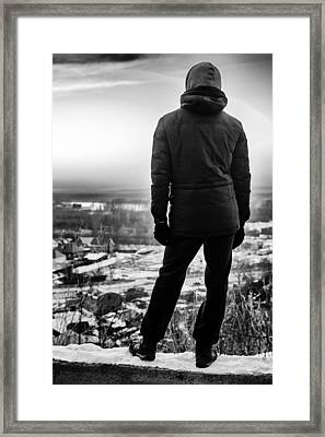Hooded Man Staring At The World In Monochrome Bnw Framed Print by John Williams