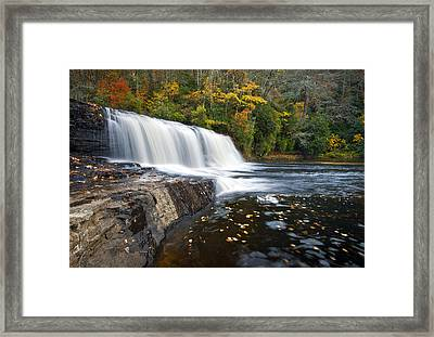 Hooker Falls In Autumn - Fall Foliage In Dupont State Forest Framed Print by Dave Allen