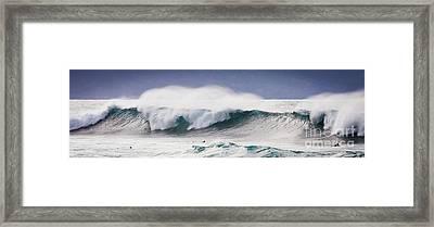 Hookipa Maui Big Wave Framed Print by Denis Dore