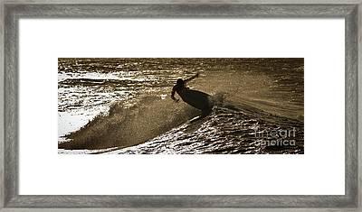Hookipa Maui Surfer At Sunset Framed Print by Denis Dore