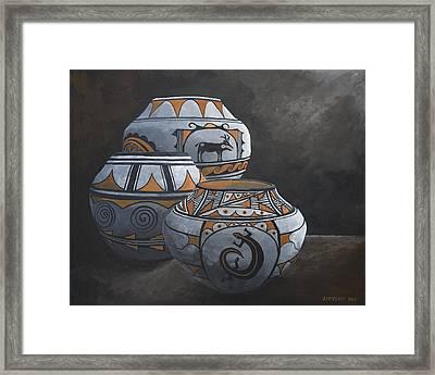 Hopi Pots Framed Print by Jerry McElroy