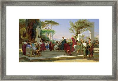 Horatius Reading His Satires To Maecenas Framed Print by Fedor Andreevich Bronnikov