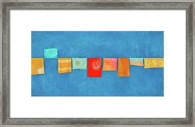 Horizontal String Of Colorful Prayer Flags 1 Framed Print by Carol Leigh