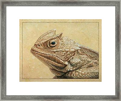 Horned Toad Framed Print by James W Johnson