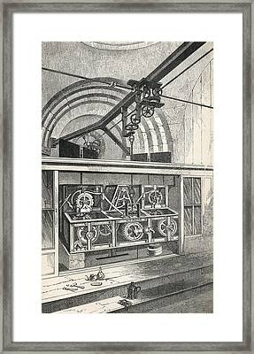 Horology. Working Parts Of The Clock At Framed Print by Vintage Design Pics