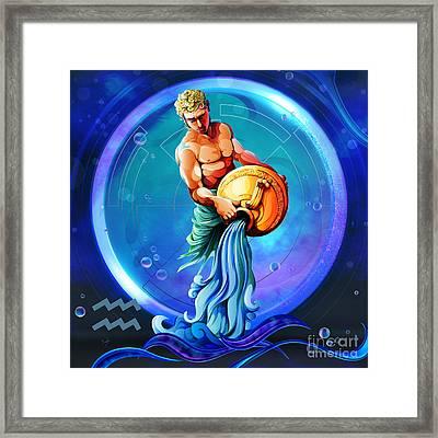 Horoscope Signs-aquarius Framed Print by Bedros Awak