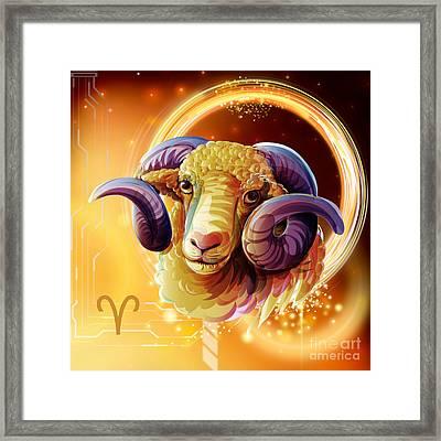 Horoscope Signs-aries Framed Print by Bedros Awak