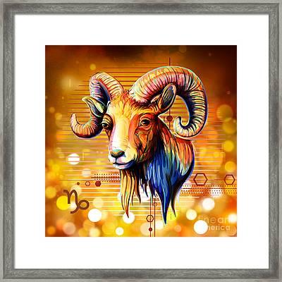 Horoscope Signs-capricorn Framed Print by Bedros Awak