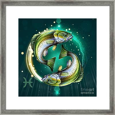 Horoscope Signs-pisces Framed Print by Bedros Awak