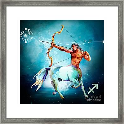 Horoscope Signs-sagittarius Framed Print by Bedros Awak