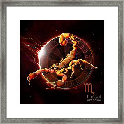 Horoscope Signs-scorpio Framed Print by Bedros Awak