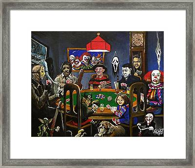Horror Card Game Framed Print by Tom Carlton