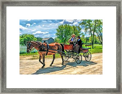 Horse And Buggy At Old World Wisconsin Framed Print by Christopher Arndt