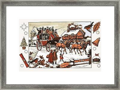 Horse And Carriage In The Snow Framed Print by English School