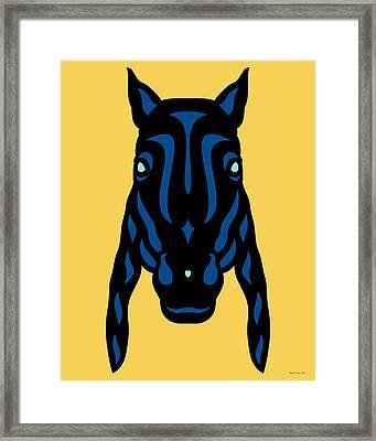 Horse Face Rick - Horse Pop Art - Primrose Yellow, Lapis Blue, Island Paradise Blue Framed Print by Manuel Sueess