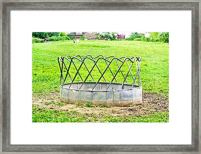 Horse Feeding Trough Framed Print by Tom Gowanlock
