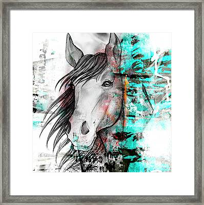 Horse In Blue  Framed Print by Mark Ashkenazi