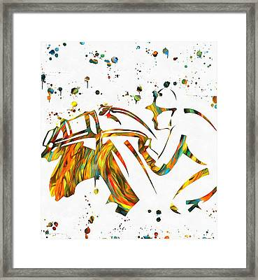 Horse Jockey Paint Splatter Framed Print by Dan Sproul