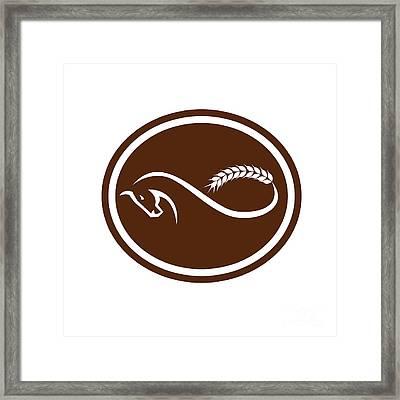 Horse Malt Tail Mobius Strip Oval Retro Framed Print by Aloysius Patrimonio