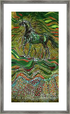 Horse Rises From The Earth Framed Print by Carol Law Conklin