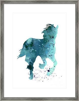 Horse Silhouette Minimalist Painting Framed Print by Joanna Szmerdt